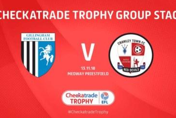 Ponturi pariuri Gillingham vs Crawley Town EFL Trophy Anglia 13 noiembrie 2018