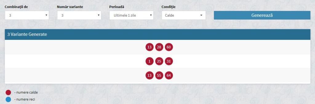 Combinatii generator numere lotostats