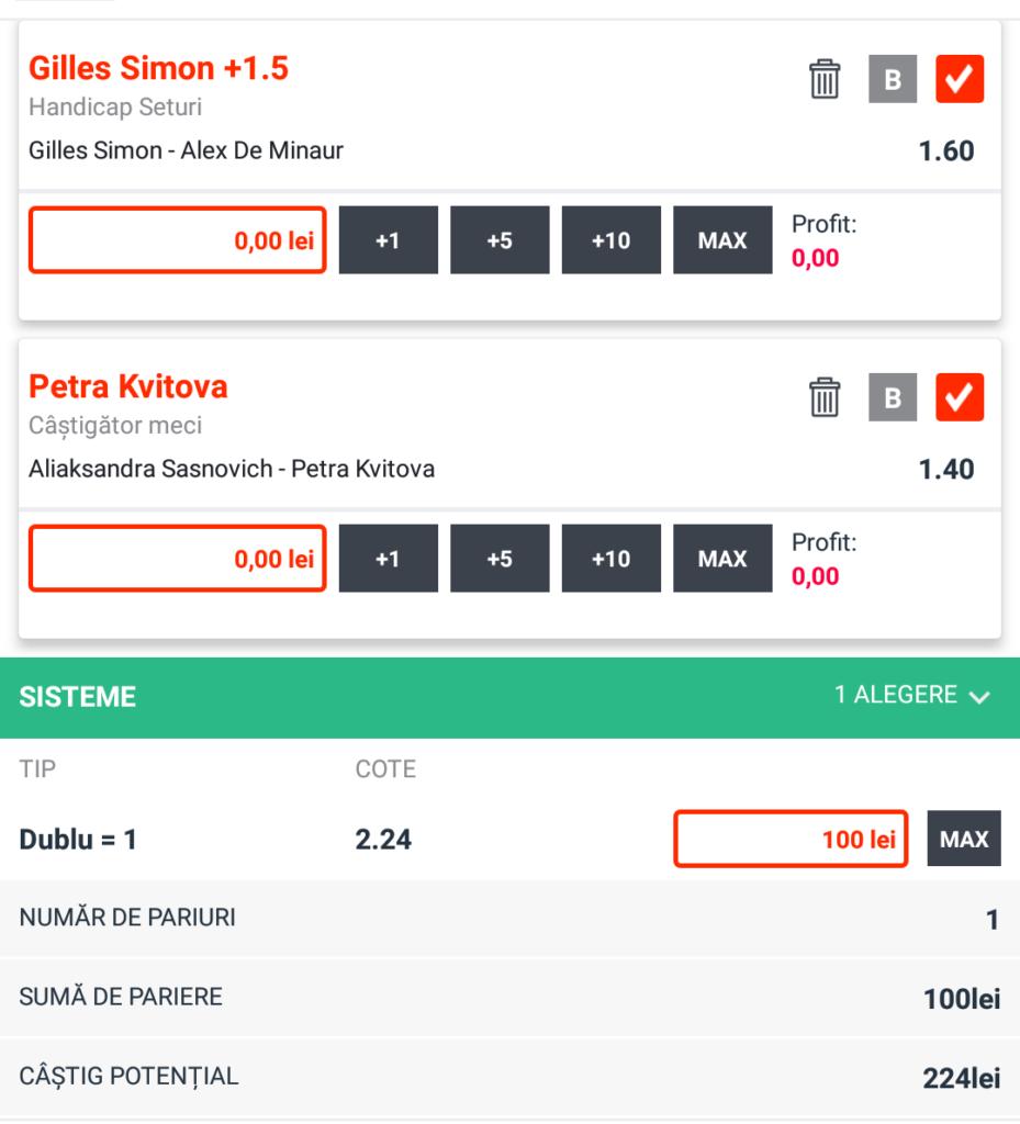 Biletul zilei din tenis de la Catalin – Vineri 11 Ianuarie – Cota 2.24 – Castig potential 224 RON