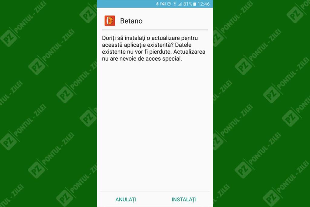 Actualizare aplicatie Betano