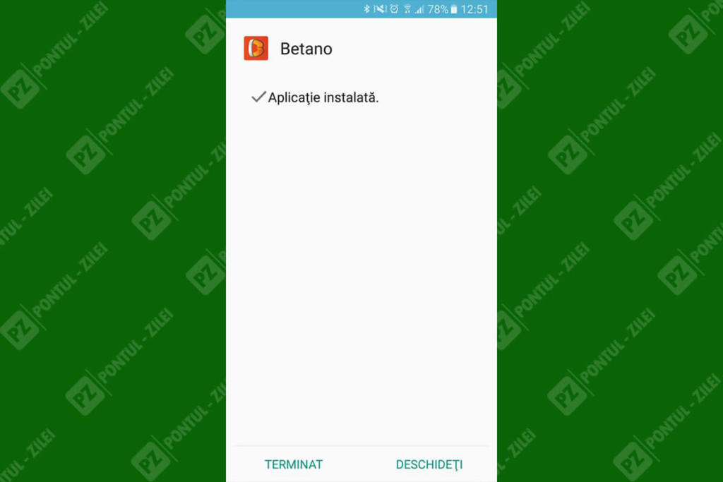 Aplicatie Betano instalata