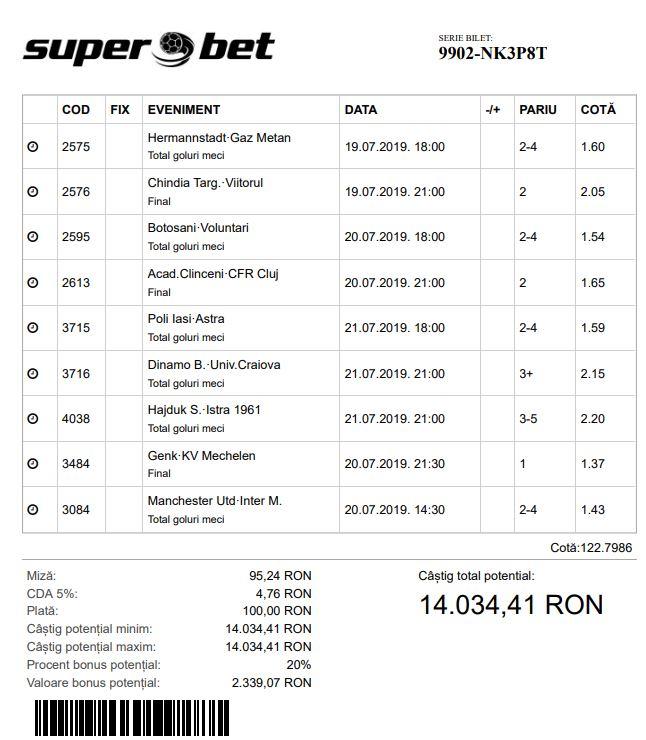 Superbet - Bilet Cotă Mare pariuri