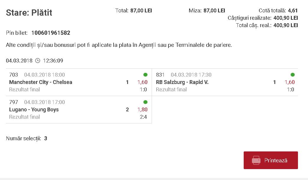 bilet online la casa pariurilor