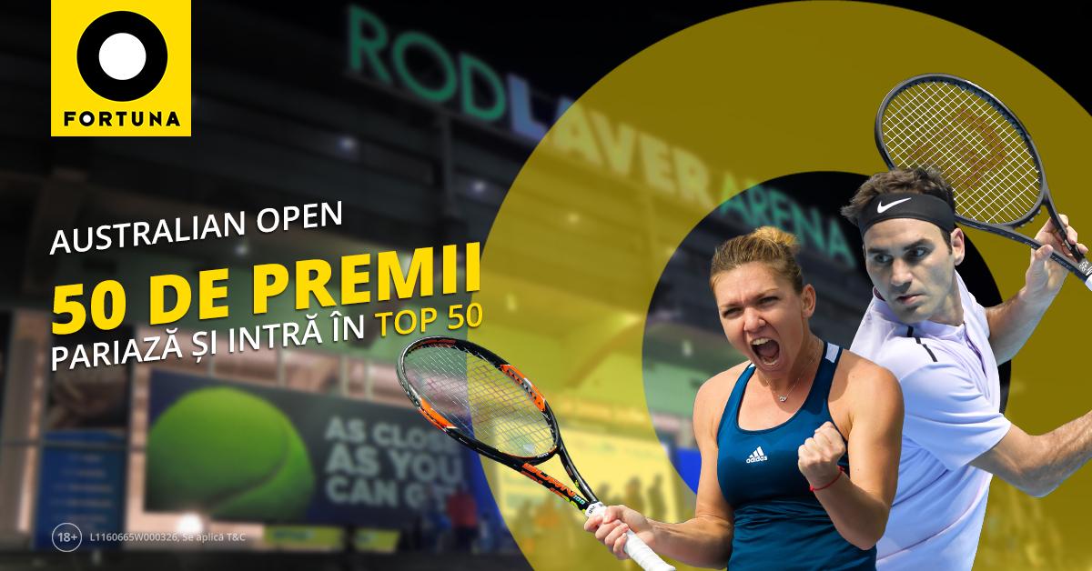 Plaseaza pariuri pe Australian Open 2019 si castiga unul din cele 50 de premii de la Fortuna