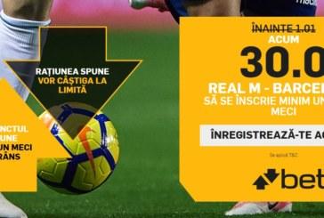"""Cotă 30.0 pentru """"over 0.5 goluri"""" la Real vs Barcelona, în Copa del Rey"""