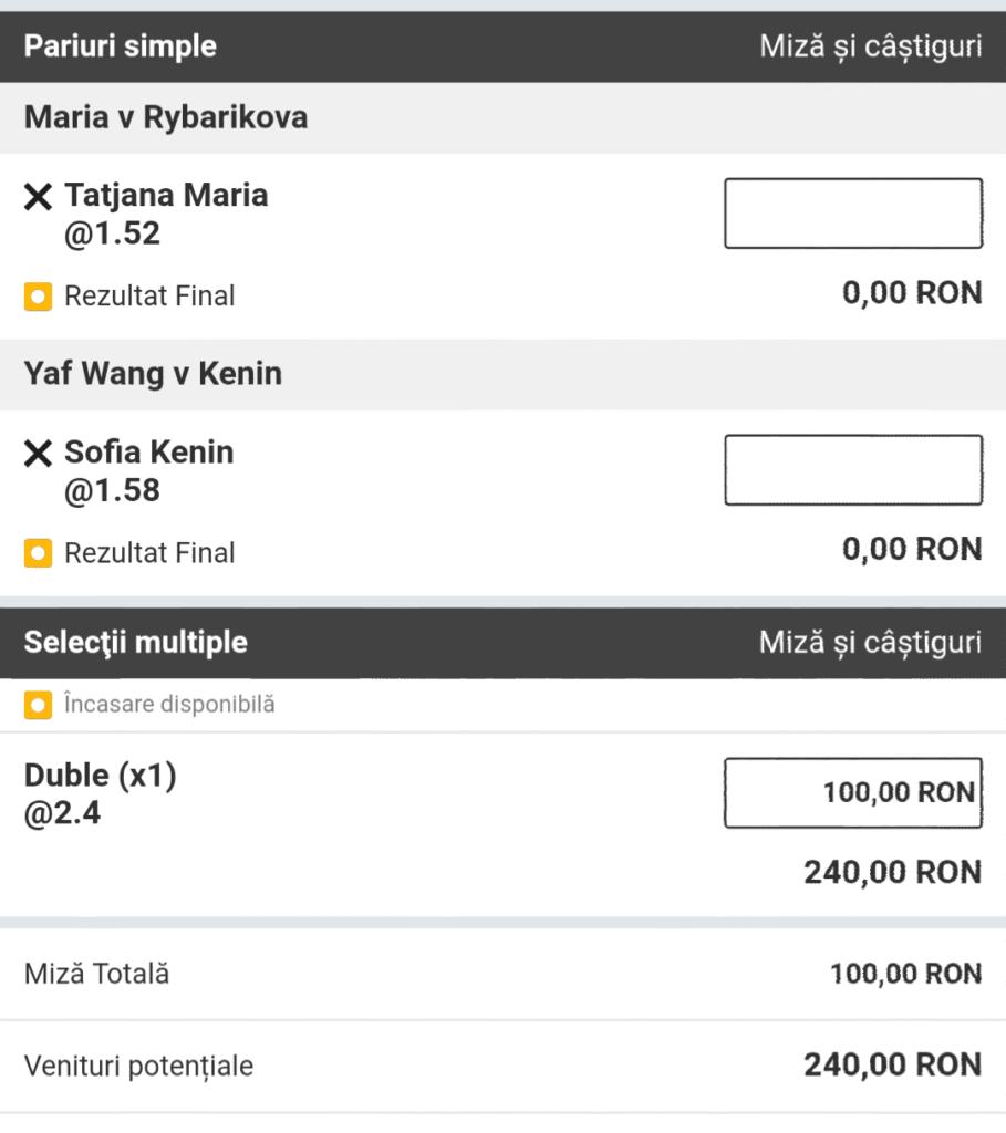 Biletul zilei din tenis de la ERC – Miercuri 06 Martie – Cota 2.40 – Castig potential 240 RON