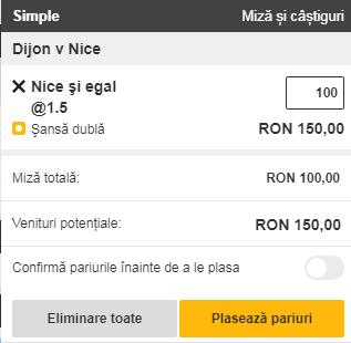 pont pariuri Dijon vs Nice