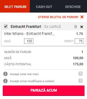 pont pariuri Inter vs Eintracht Frankfurt