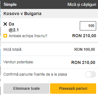pont pariuri Kosovo vs Bulgaria