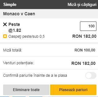 pont pariuri Monaco vs Caen