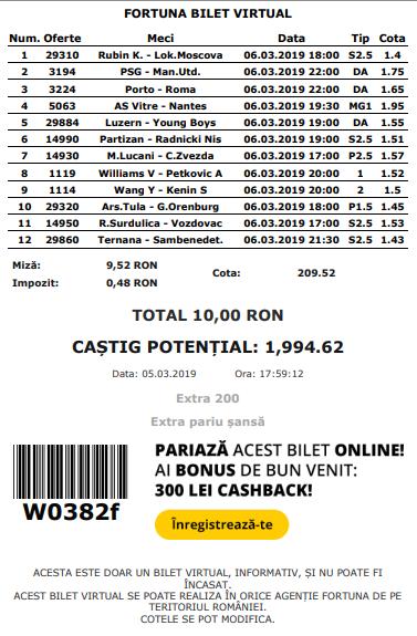 Biletul zilei din fotbal de COTA MARE – Miercuri 06 Martie – Cota 209