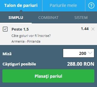 pont pariuri Armenia vs Finlanda