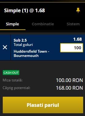 pont pariuri Huddersfield vs Bournemouth
