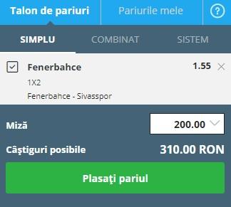 pont pariuri Fenerbahce vs Sivasspor