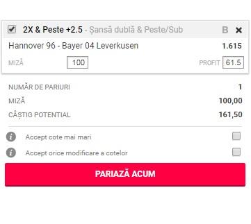 pont pariuri Hannover vs Bayer Leverkusen