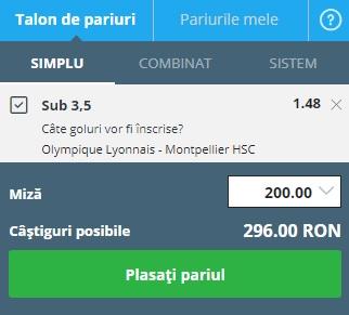 pont pariuri Lyon vs Montpellier