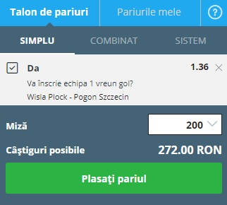 pont pariuri Plock vs Pogon Szczecin