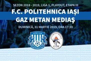 Ponturi Poli Iasi-Gaz Metan Medias fotbal 31-martie-2019 Liga 1 Betano