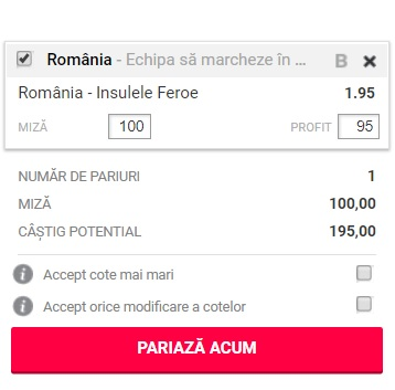 pont pariuri Romania vs Insulele Feroe