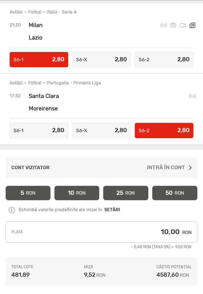 Bilet Super 6 Superbet - Sambata 13 Aprilie - Cota 482 - Castig potential 4587