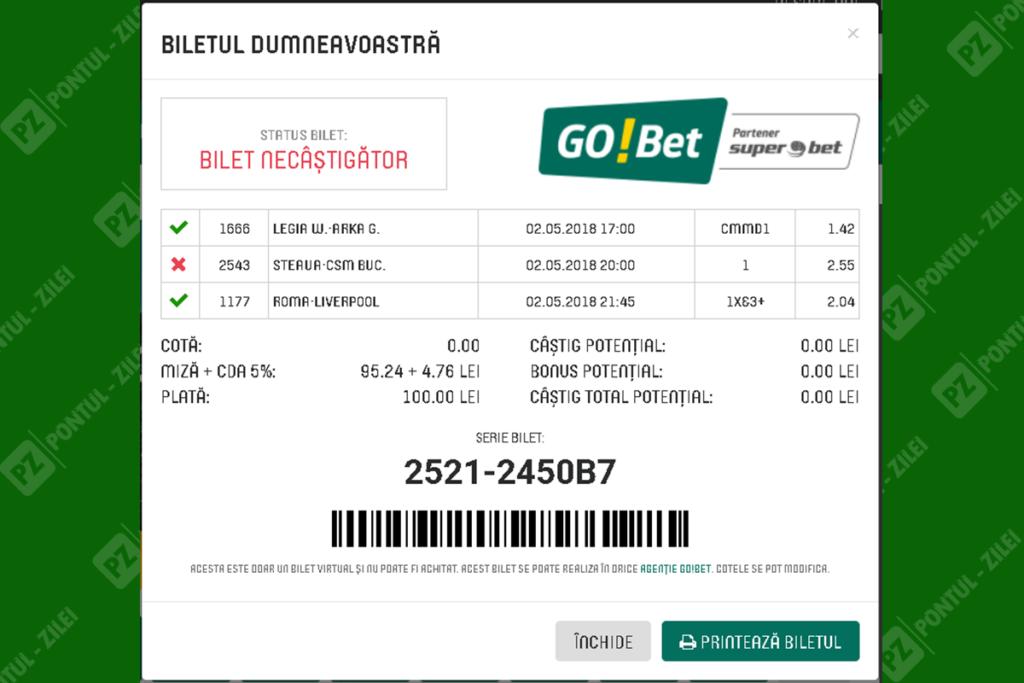 Bilet verificat Go Bet