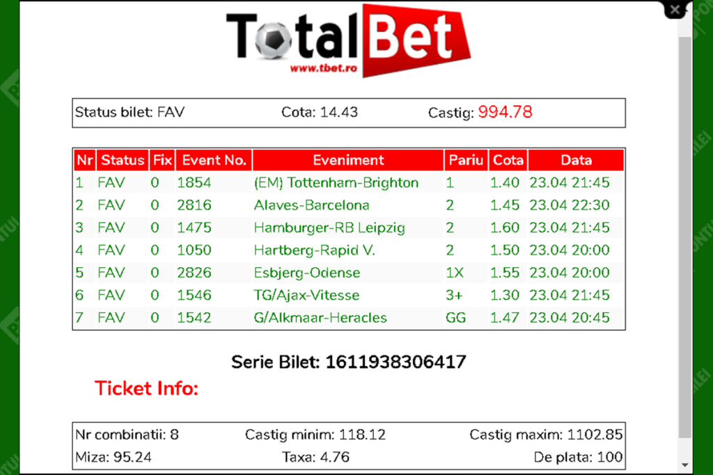 Bilet verificat Total Bet