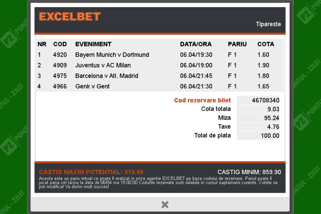 Bilet virtual Excelbet