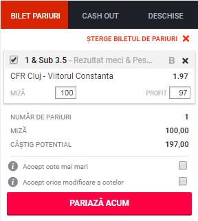 pont pariuri CFR Cluj vs FC Viitorul