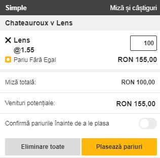 pont pariuri LB Chateauroux vs RC Lens