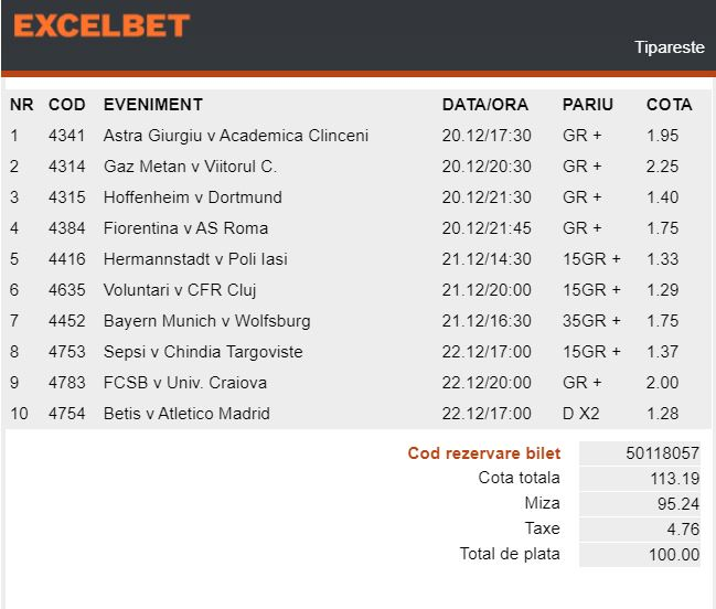 Excelbet - Bilet Cotă Mare pariuri