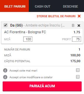 pont pariuri Fiorentina vs Bologna