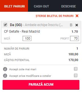 pont pariuri Getafe vs Real Madrid