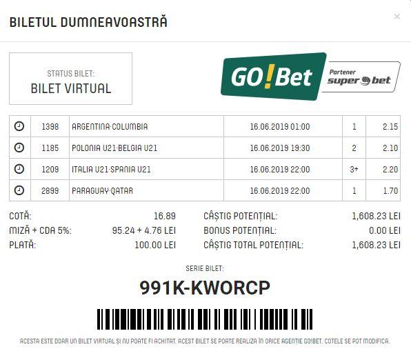 Go Bet - Bilet Cotă Mare pariuri