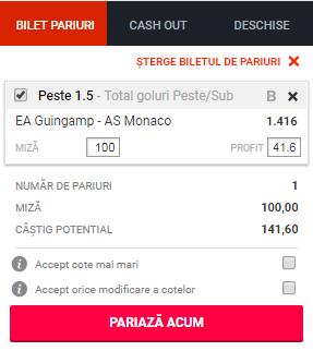 pont pariuri Guingamp vs Monaco