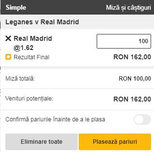 pont pariuri Leganes vs Real Madrid
