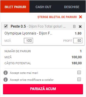 pont pariuri Lyon vs Dijon