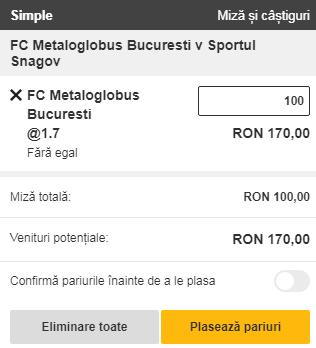 pont pariuri Metaloglobus vs Sportul Snagov