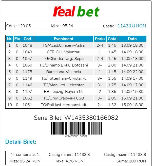 Realbet - Bilet Cotă Mare pariuri