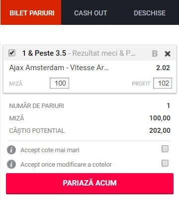 pont pariuri Ajax Amsterdam vs Vitesse