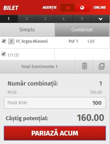 pont pariuri FC Argeș vs CS Mioveni