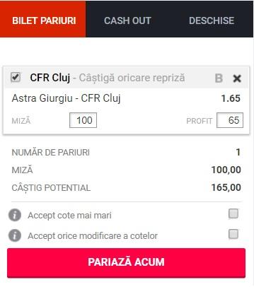 pont pariuri Astra vs CFR Cluj