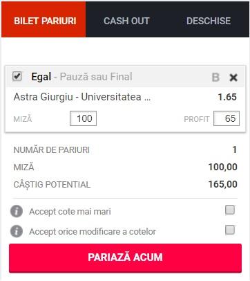 pont pariuri Astra vs Universitatea Craiova