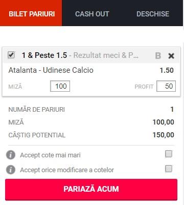 pont pariuri Atalanta vs Udinese