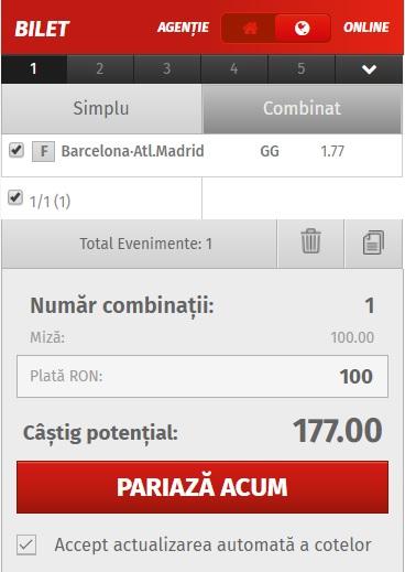 pont pariuri Barcelona vs Atletico Madrid