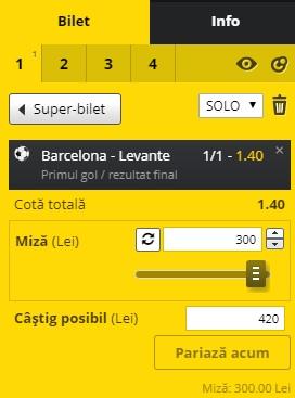 pont pariuri Barcelona vs Levante