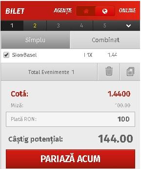 pont pariuri Sion vs Basel