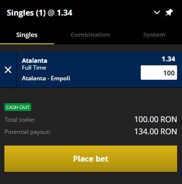 pont pariuri Atalanta vs Empoli