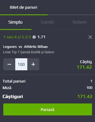 pont pariuri Leganes vs Athletic Bilbao