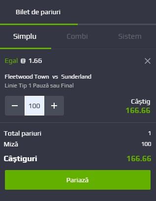 pont pariuri Fleetwood Town vs Sunderland