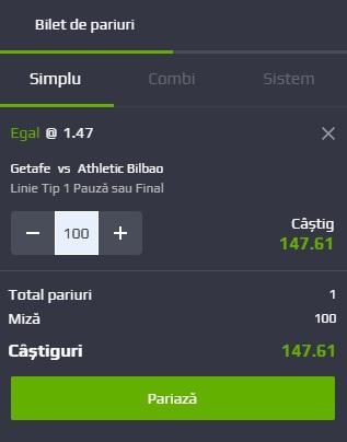 pont pariuri Getafe vs Athletic Bilbao